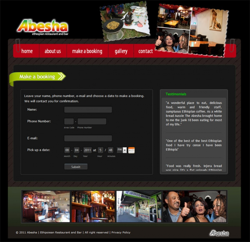 Abesha Restaurant and Bar Website